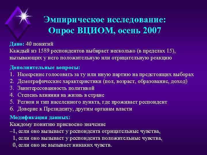 Эмпирическое исследование: Опрос ВЦИОМ, осень 2007 Дано: 40 понятий Каждый из 1589 респондентов выбирает