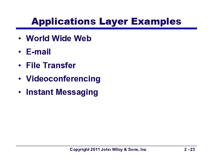 Applications Layer Examples • World Wide Web • E-mail • File Transfer • Videoconferencing