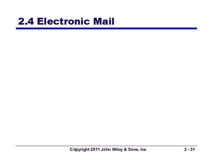 2. 4 Electronic Mail Copyright 2011 John Wiley & Sons, Inc 2 - 31
