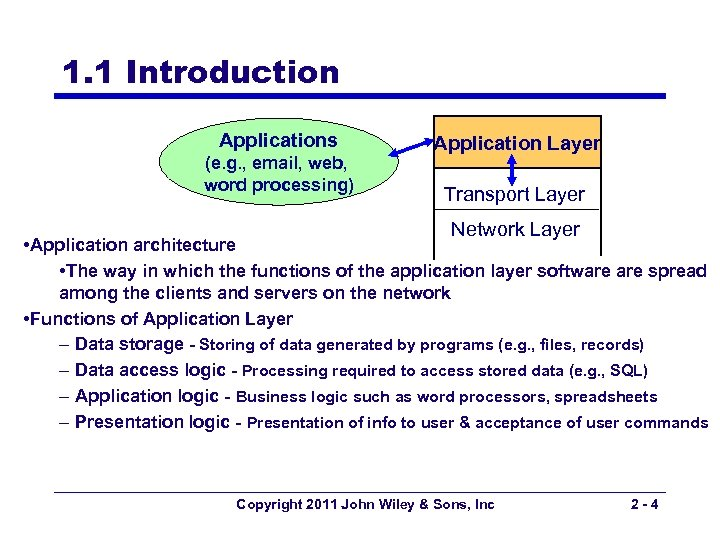 1. 1 Introduction Applications (e. g. , email, web, word processing) Application Layer Transport