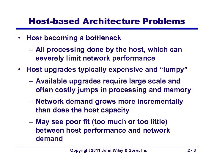 Host-based Architecture Problems • Host becoming a bottleneck – All processing done by the
