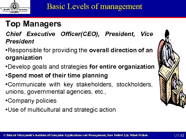 Basic Levels of management Top Managers Chief Executive Officer(CEO), President, Vice President • Responsible