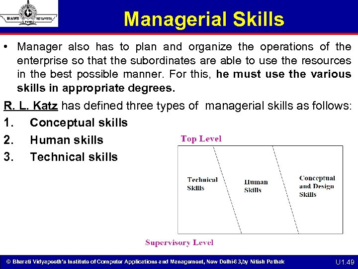 Managerial Skills • Manager also has to plan and organize the operations of the