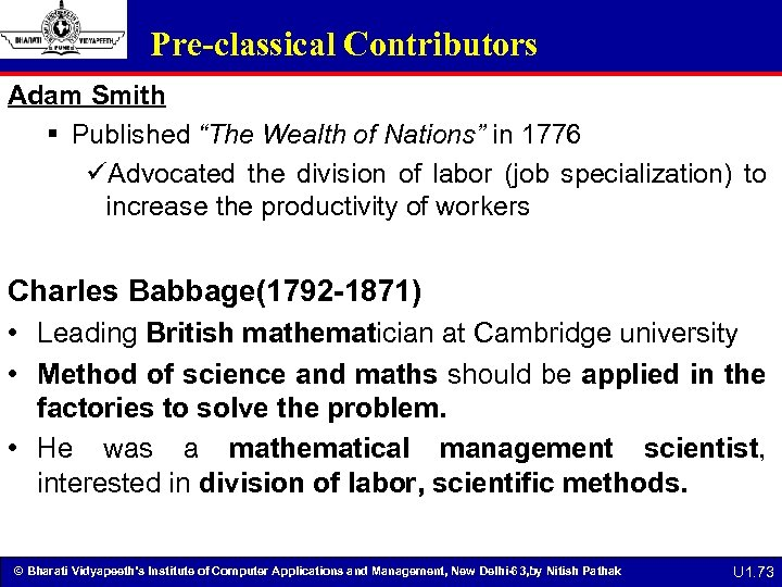 """Pre-classical Contributors Adam Smith § Published """"The Wealth of Nations"""" in 1776 üAdvocated the"""