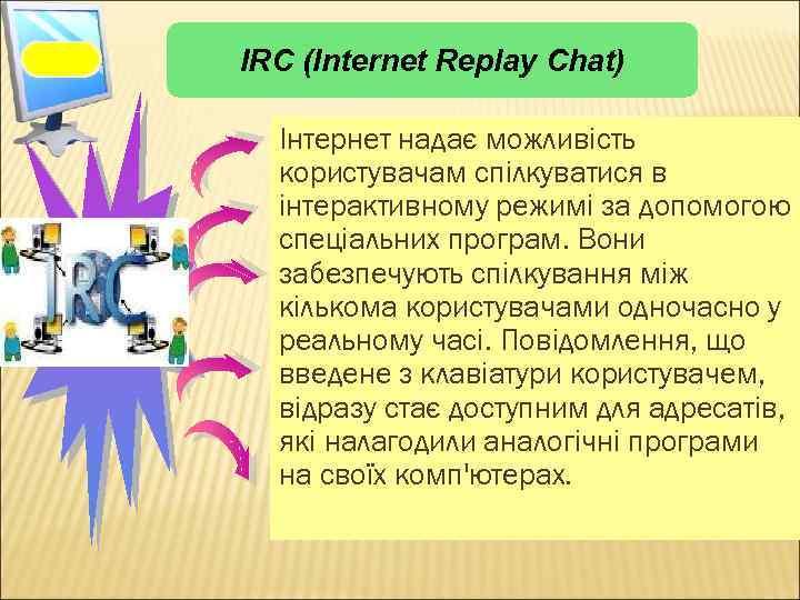 IRC (Internet Replay Chat) IRC Інтернет надає можливість користувачам спілкуватися в інтерактивному режимі за