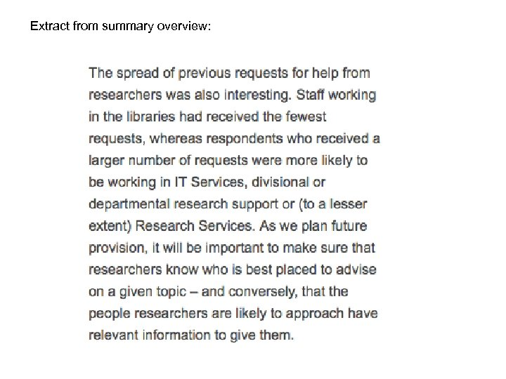 Extract from summary overview: