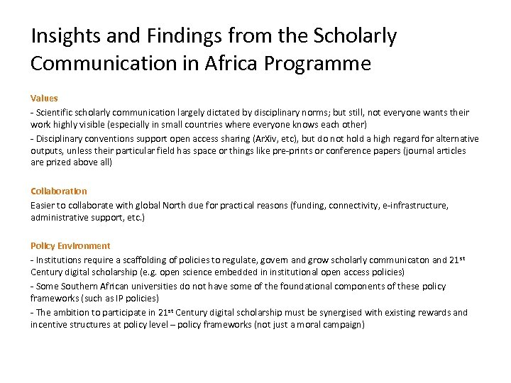 Insights and Findings from the Scholarly Communication in Africa Programme Values - Scientific scholarly