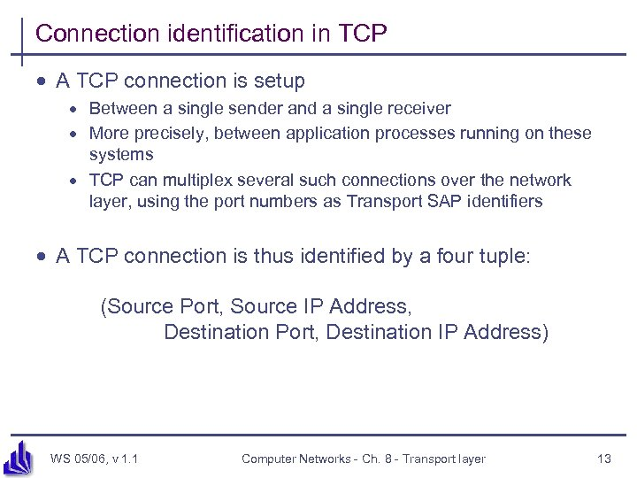 Connection identification in TCP · A TCP connection is setup · Between a single