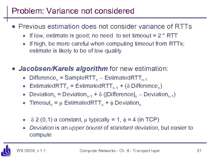 Problem: Variance not considered · Previous estimation does not consider variance of RTTs ·