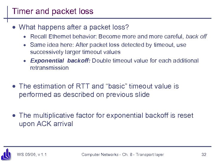Timer and packet loss · What happens after a packet loss? · Recall Ethernet