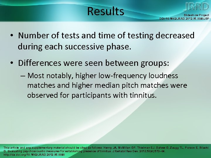 Results Slideshow Project DOI: 10. 1682/JRRD. 2012. 05. 0090 JSP • Number of tests