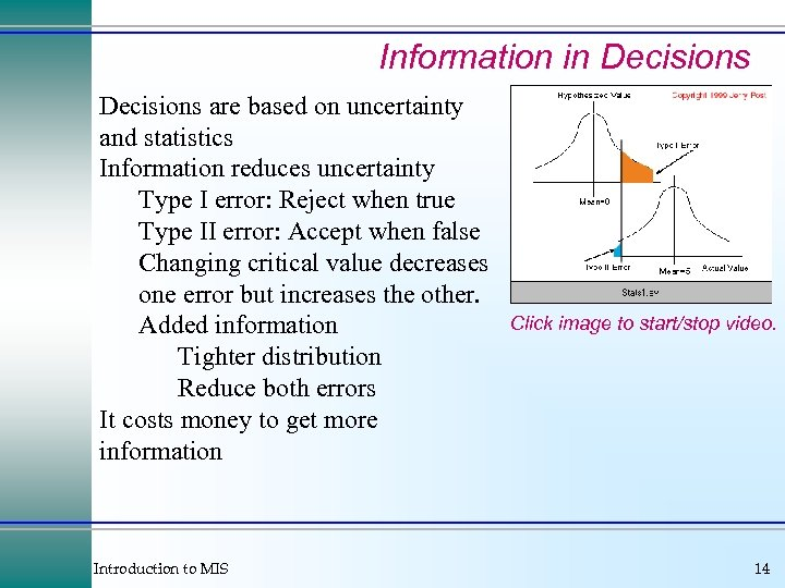 Information in Decisions are based on uncertainty and statistics Information reduces uncertainty Type I