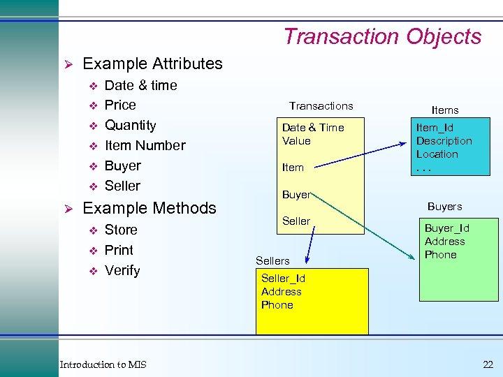 Transaction Objects Ø Example Attributes v v v Ø Date & time Price Quantity