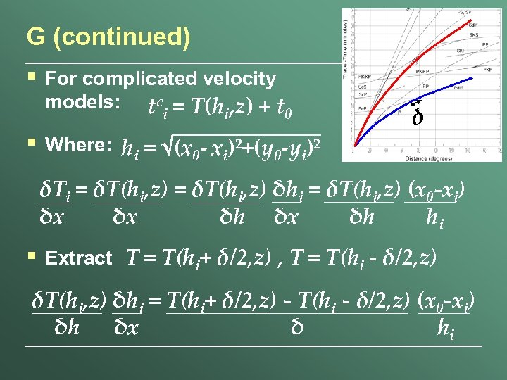 G (continued) § For complicated velocity models: tc = T(h , z) + t
