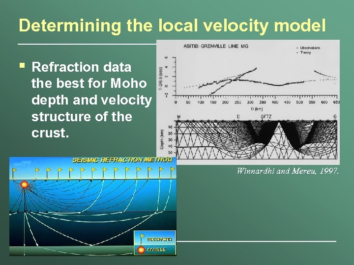 Determining the local velocity model § Refraction data the best for Moho depth and