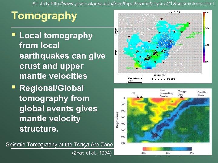 Art Jolly http: //www. giseis. alaska. edu/Seis/Input/martin/physics 212/seismictomo. html Tomography § § Local tomography
