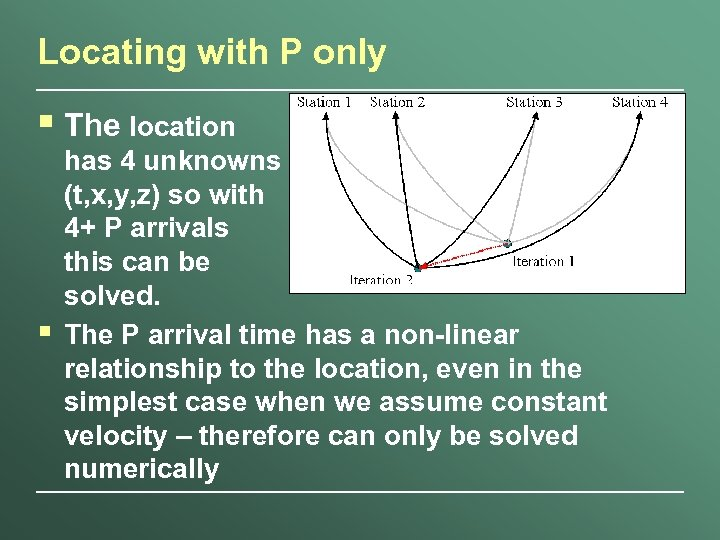 Locating with P only § The location § has 4 unknowns (t, x, y,
