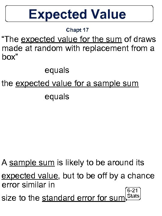 """Expected Value Chapt 17 """"The expected value for the sum of draws made at"""