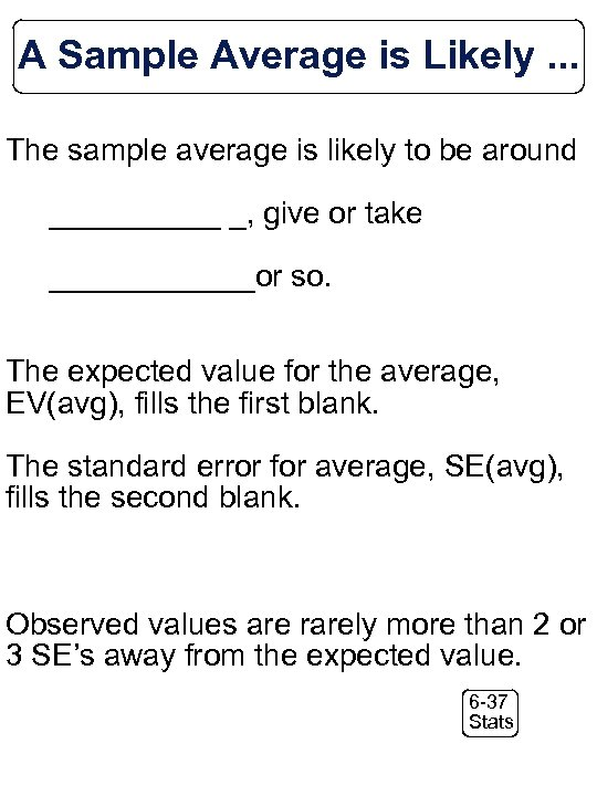 A Sample Average is Likely. . . The sample average is likely to be