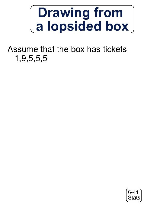 Drawing from a lopsided box Assume that the box has tickets 1, 9, 5,