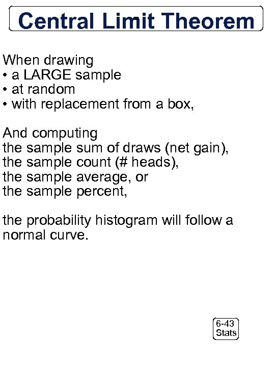 Central Limit Theorem = When drawing • a LARGE sample • at random •