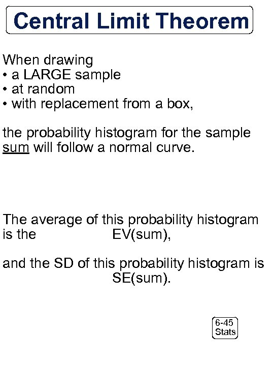 Central Limit Theorem When drawing • a LARGE sample • at random • with
