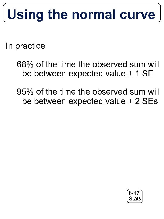 Using the normal curve In practice 68% of the time the observed sum will
