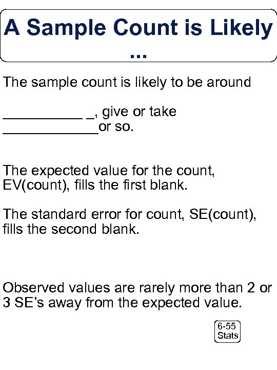 A Sample Count is Likely. . . The sample count is likely to be