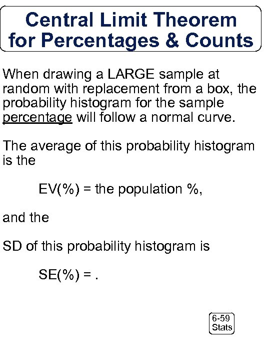 Central Limit Theorem for Percentages & Counts When drawing a LARGE sample at random
