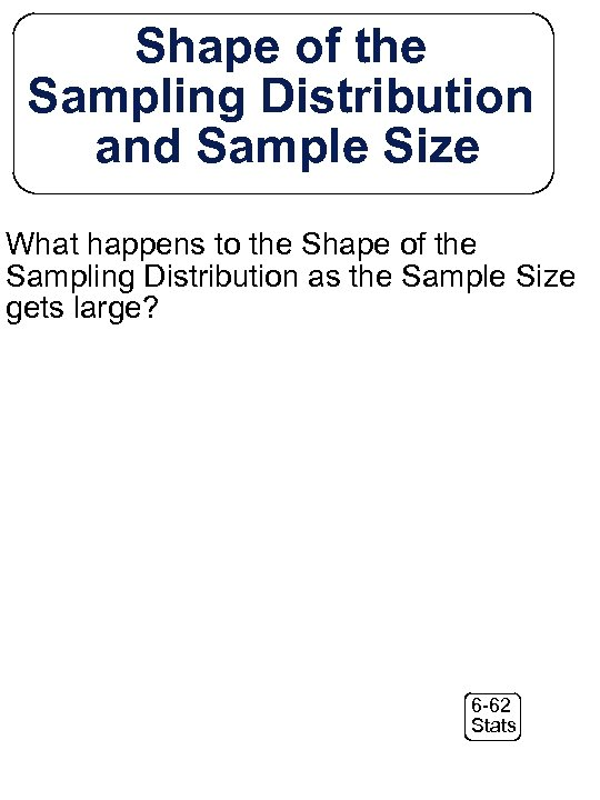 Shape of the Sampling Distribution and Sample Size What happens to the Shape of
