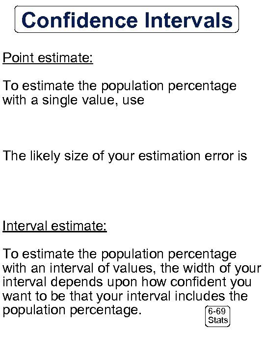 Confidence Intervals Point estimate: To estimate the population percentage with a single value, use
