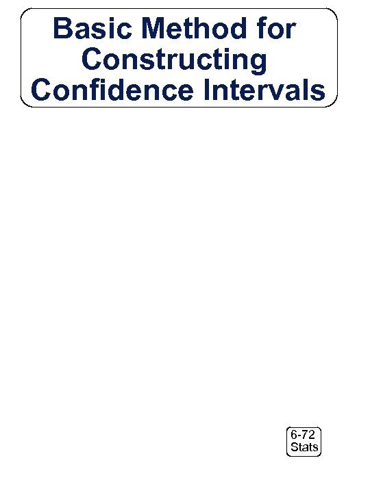 Basic Method for Constructing Confidence Intervals 6 -72 Stats