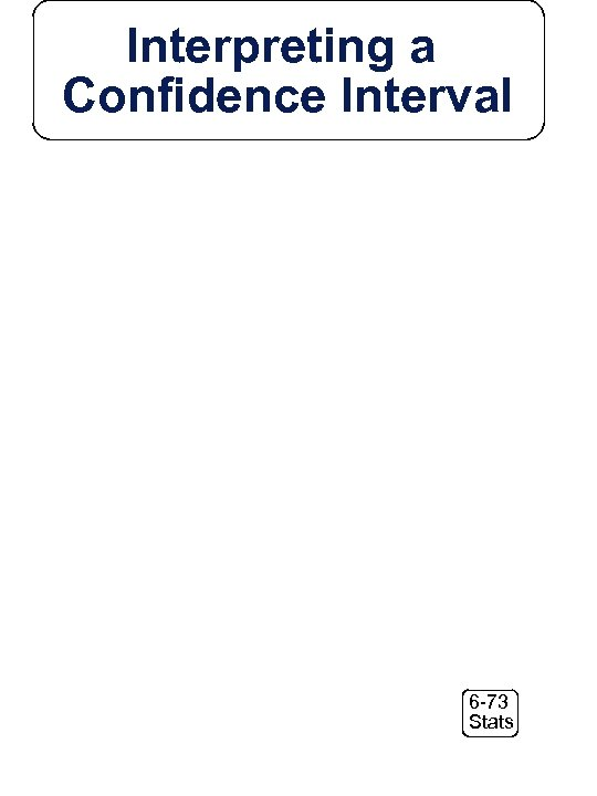 Interpreting a Confidence Interval 6 -73 Stats