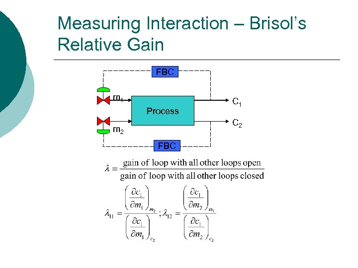 Measuring Interaction – Brisol's Relative Gain FBC m 1 Process C 1 C 2