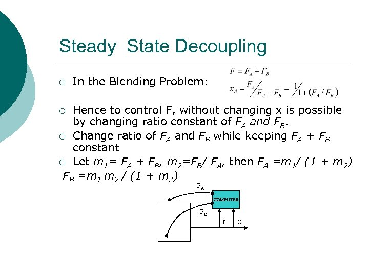Steady State Decoupling ¡ In the Blending Problem: Hence to control F, without changing