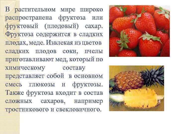 В растительном мире широко распространена фруктоза или фруктовый (плодовый) сахар. Фруктоза содержится в сладких