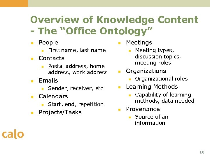 """Overview of Knowledge Content - The """"Office Ontology"""" n People n n Postal address,"""