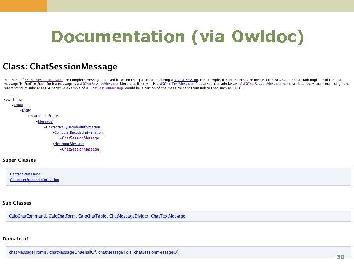 Documentation (via Owldoc) 30