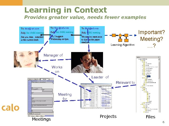 Learning in Context Provides greater value, needs fewer examples To: Bob@ sri. com To: