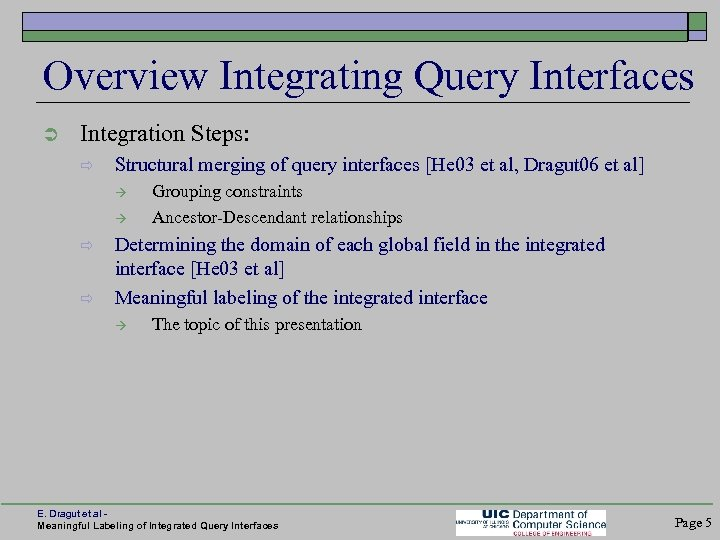 Overview Integrating Query Interfaces Ü Integration Steps: ð Structural merging of query interfaces [He