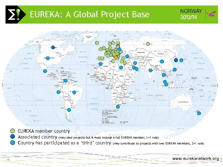 EUREKA: A Global Project Base >6 EUREKA member country Associated country (may lead projects