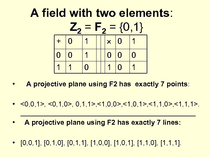 A field with two elements: Z 2 = F 2 = {0, 1} +