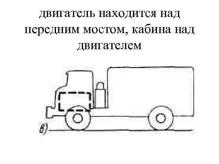 двигатель находится над передним мостом, кабина над двигателем