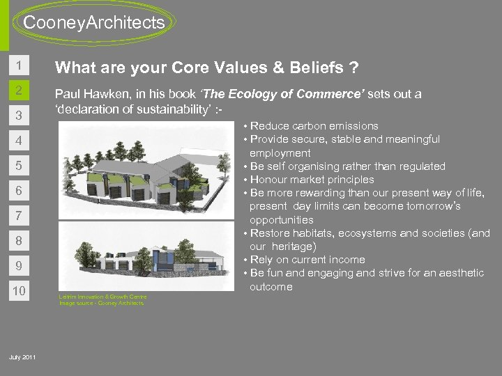 Cooney. Architects 1 What are your Core Values & Beliefs ? 2 Paul Hawken,