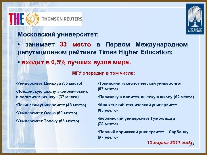 Московский университет: • занимает 33 место в Первом Международном репутационном рейтинге Times Higher Education;