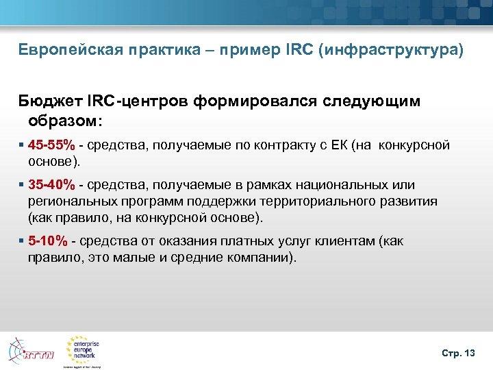 Европейская практика – пример IRC (инфраструктура) Бюджет IRC-центров формировался следующим образом: § 45 -55%