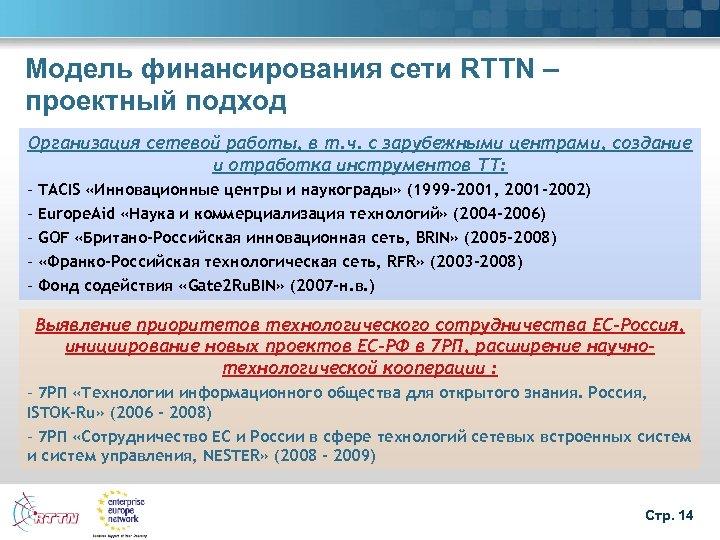 Модель финансирования сети RTTN – проектный подход Организация сетевой работы, в т. ч. с