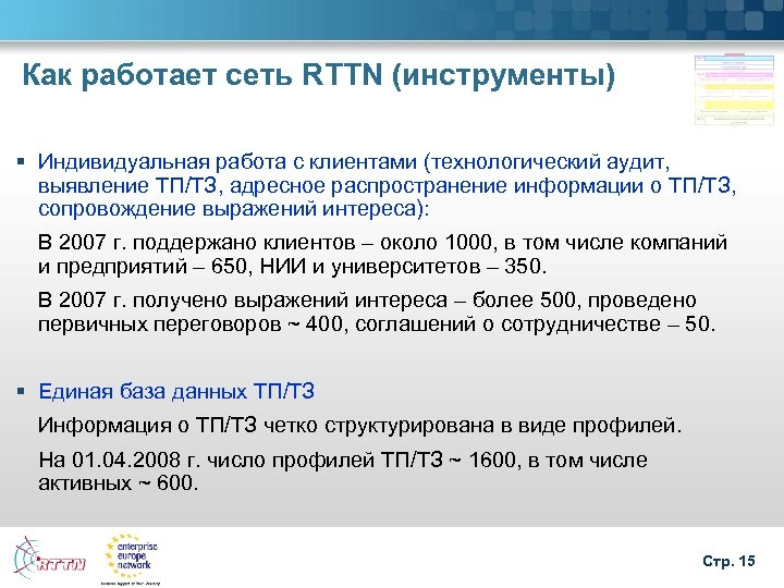 Как работает сеть RTTN (инструменты) § Индивидуальная работа с клиентами (технологический аудит, выявление ТП/ТЗ,