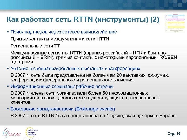 Как работает сеть RTTN (инструменты) (2) § Поиск партнеров через сетевое взаимодействие Прямые контакты