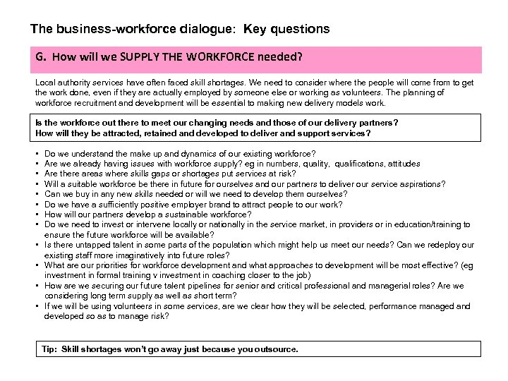 The business-workforce dialogue: Key questions G. How will we SUPPLY THE WORKFORCE needed? Local